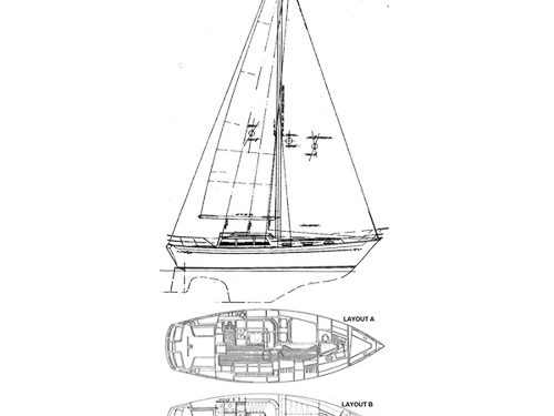 Illustration of an Islander 36 Freeport