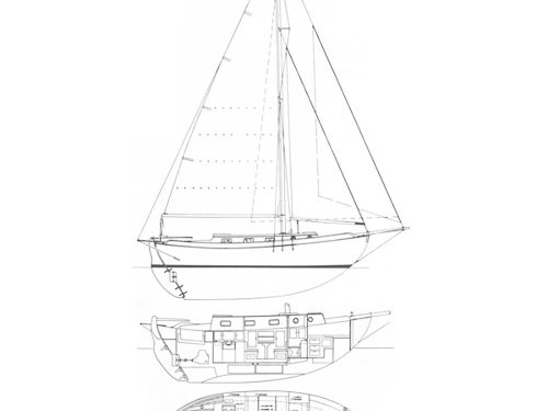Illustration of a Westsail 32